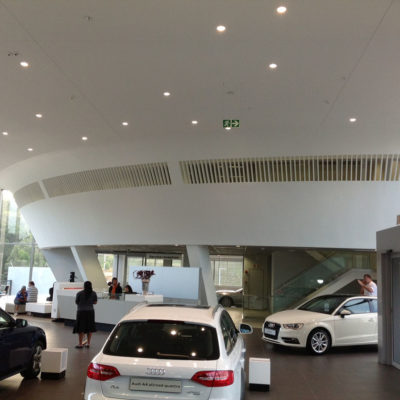 audi centre shospec project-light-steel-frame-building-interior-curved-walls-bulkheads-skimmed-ceilings
