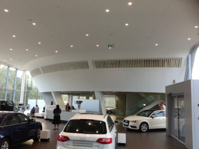 audi centre shospec project-shopfitting-metal-pan-ceilings-light-steel-frame-building