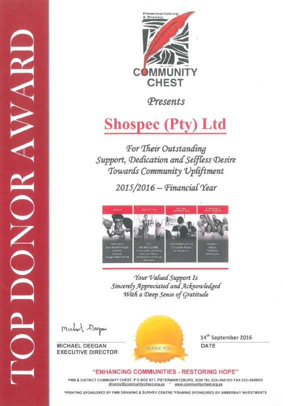 donations shospec supporter-community-top-donor-award-chest-quality-shopfitting-light-steel-frame-building-pmb-kzn