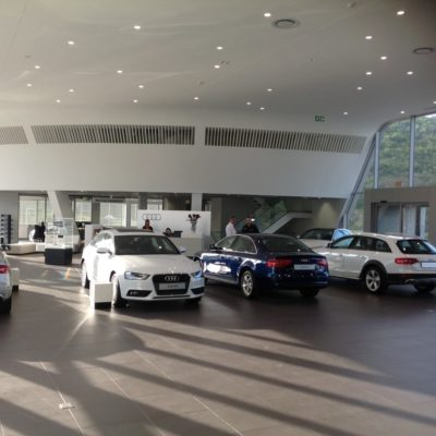 audi showroom bulkheads-skimmed-ceilings-shospec-LSF-project-quality-shopfitting-light-steel-frame-building-pmb-kzn