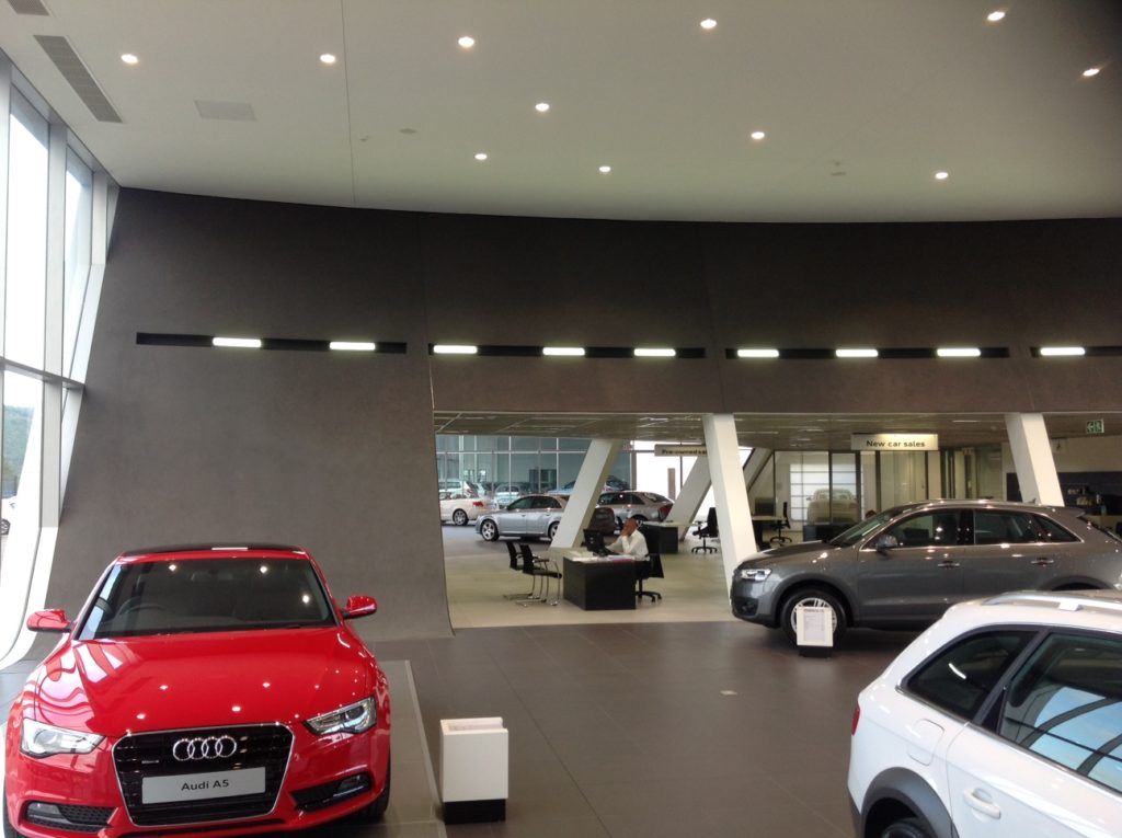 audi showroom metal-pan-ceilings-bulkheads-skimmed-ceilings-shospec-quality-shopfitting-light-steel-frame-building-pmb
