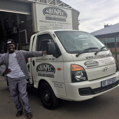 driving us proud shospec-drivers-Sakhile-Mbeje-LSF-project-quality-shopfitting-light-steel-frame-building-pmb-kzn