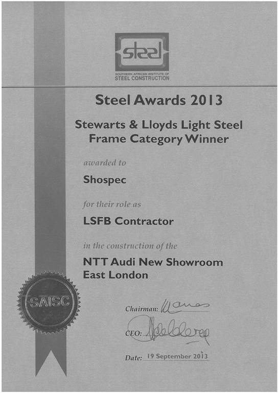 awards-shospec-2013-STEEL-AWARDS-LIGHT-STEEL-FRAME-CATEGORY-WINNER-NTT-AUDI-SHOWROOM-EL
